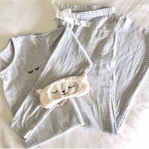 LOFT Embroidered Stripe Pajama Set